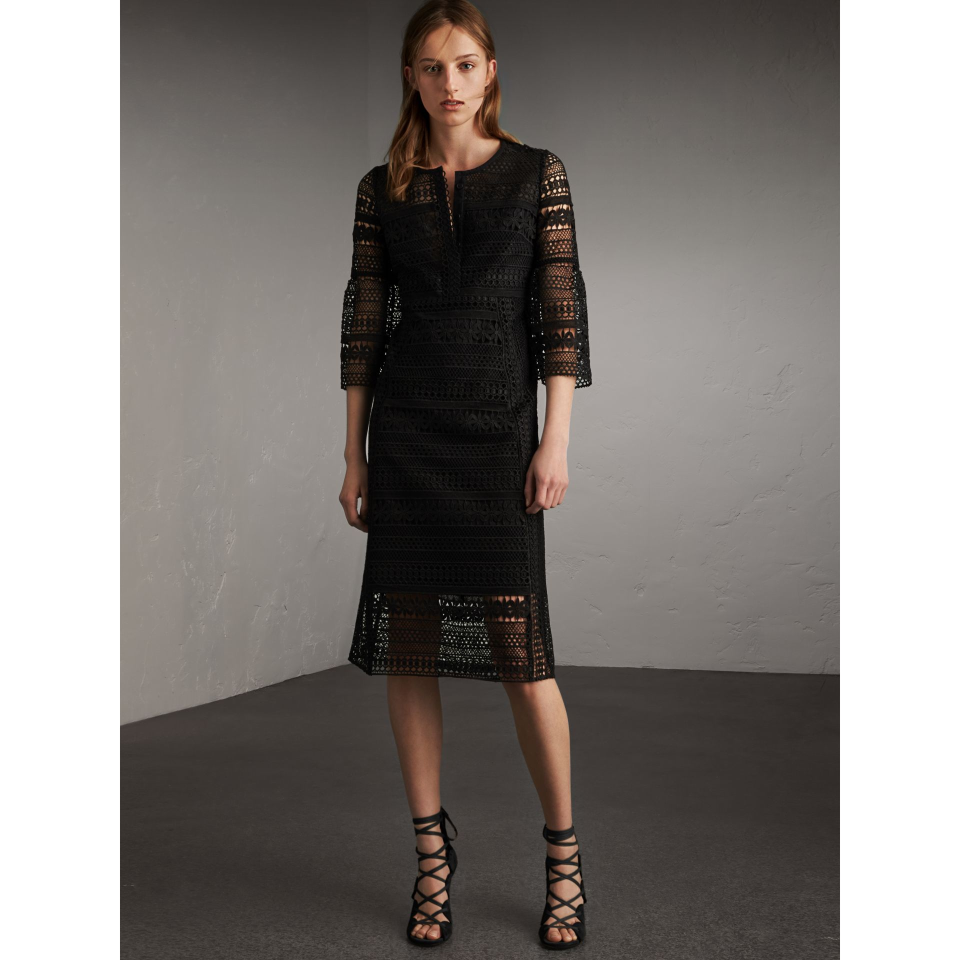 Puff-sleeve Macramé Lace Dress in Black - Women | Burberry - gallery image 1