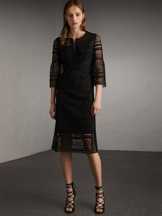 Puff-sleeve Macramé Lace Dress in Black