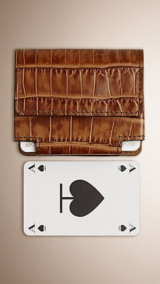 Alligator Leather Playing Card Case