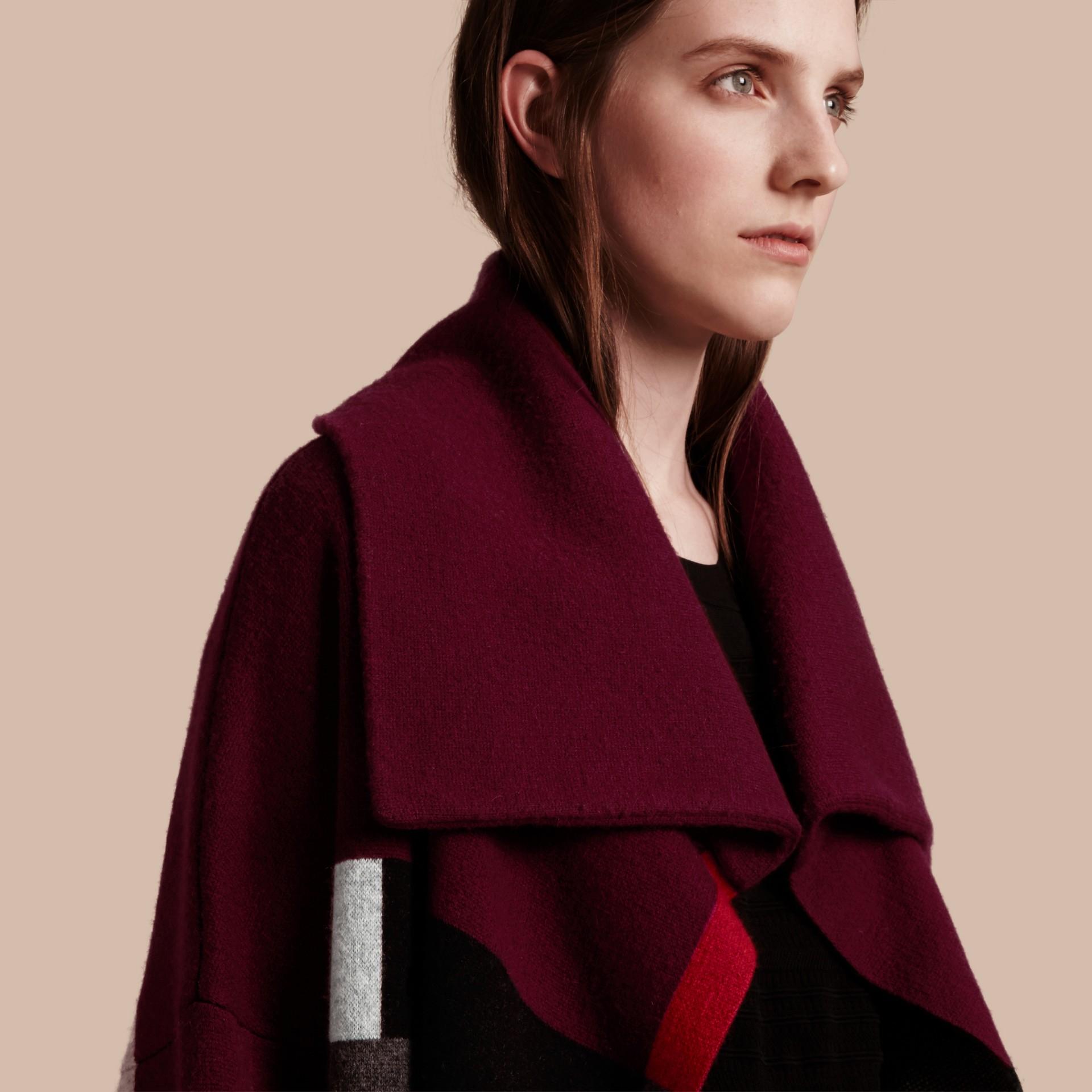 Nero Cappotto cardigan in lana e cashmere con motivo tartan - immagine della galleria 5