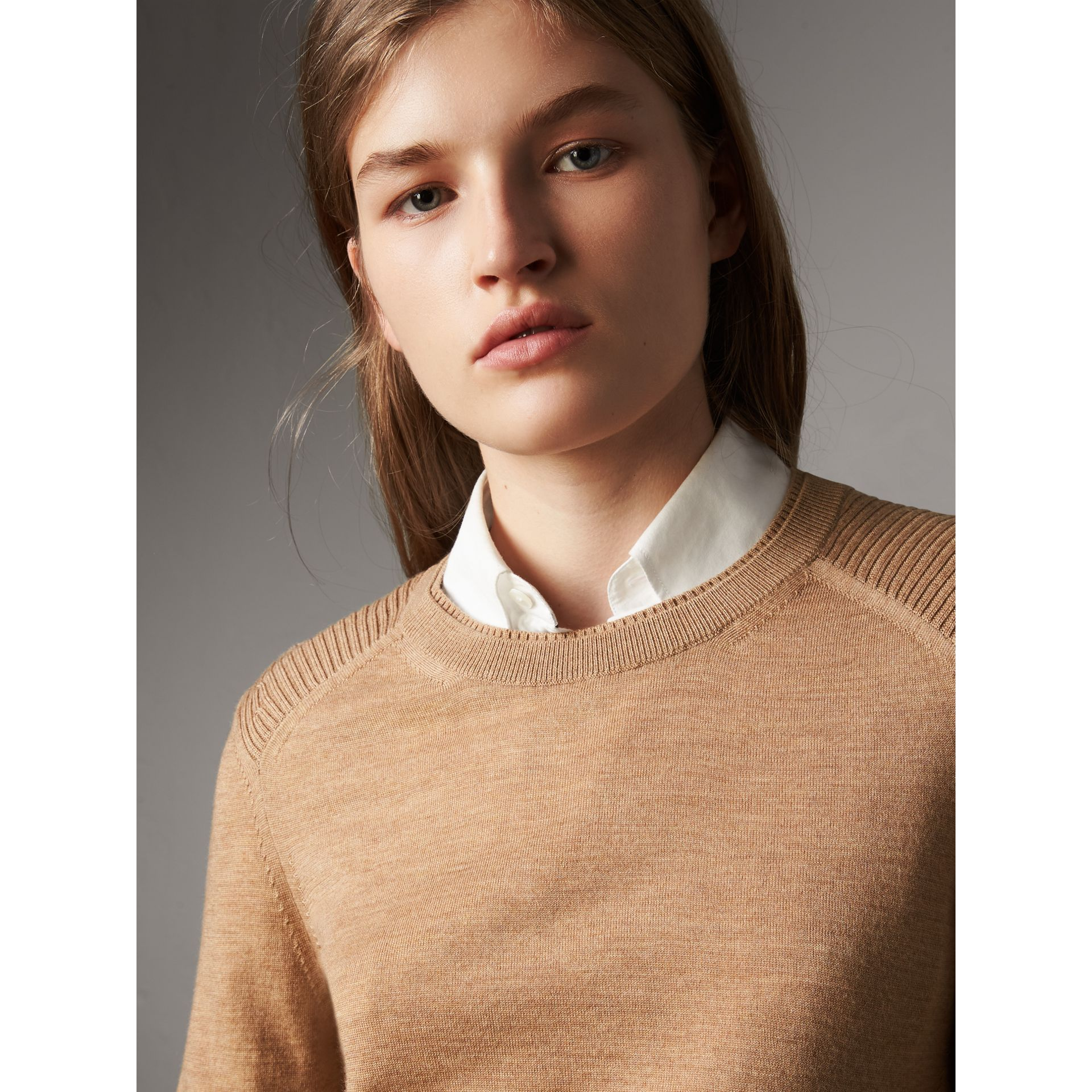 Check Detail Merino Wool Sweater in Camel - Women | Burberry Canada - gallery image 1