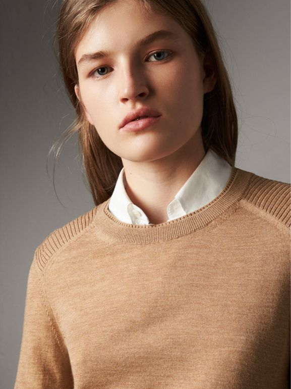 Check Detail Merino Wool Sweater in Camel - Women | Burberry United Kingdom - cell image 1