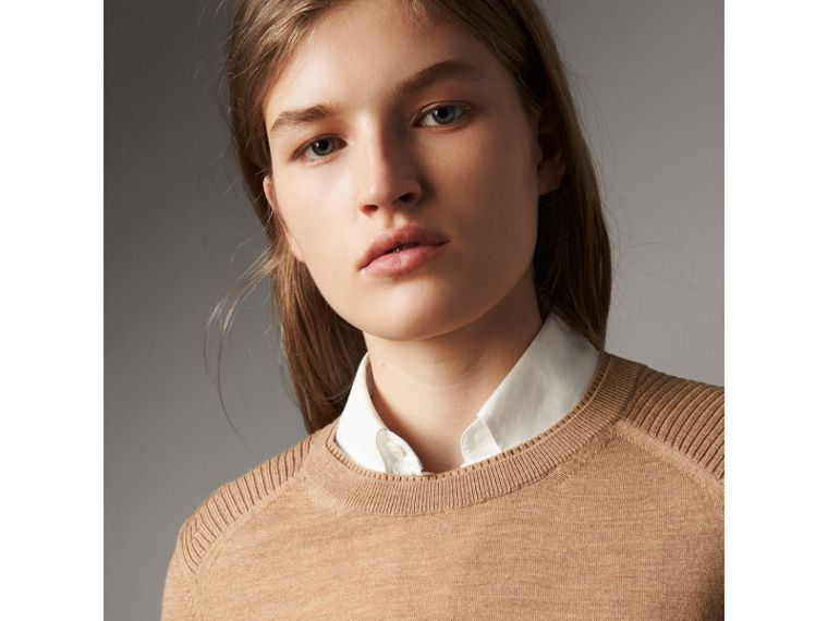 Check Detail Merino Wool Sweater in Camel - Women | Burberry Canada - cell image 1