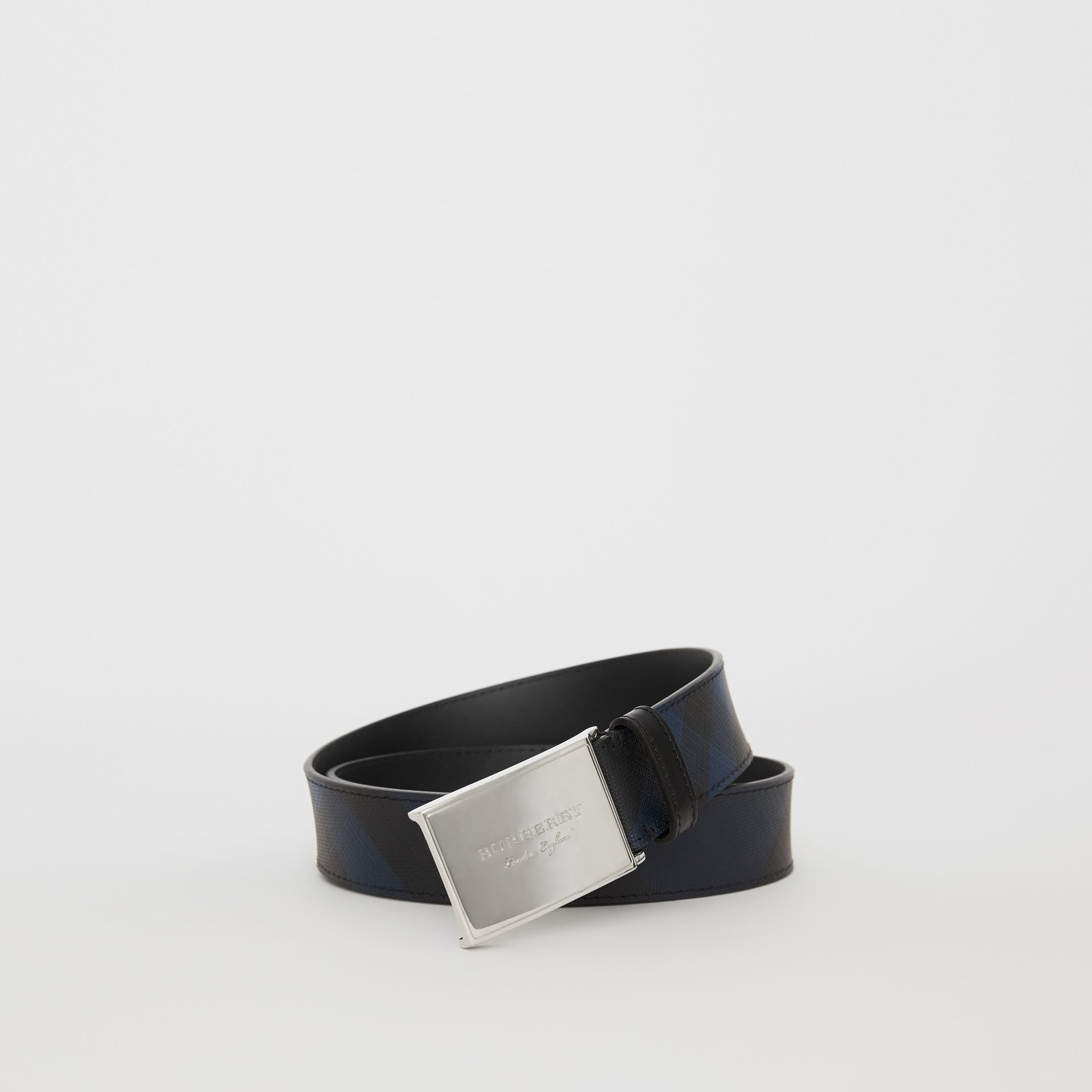 Plaque Buckle London Check and Leather Belt in Navy/black - Men | Burberry Hong Kong - gallery image 0