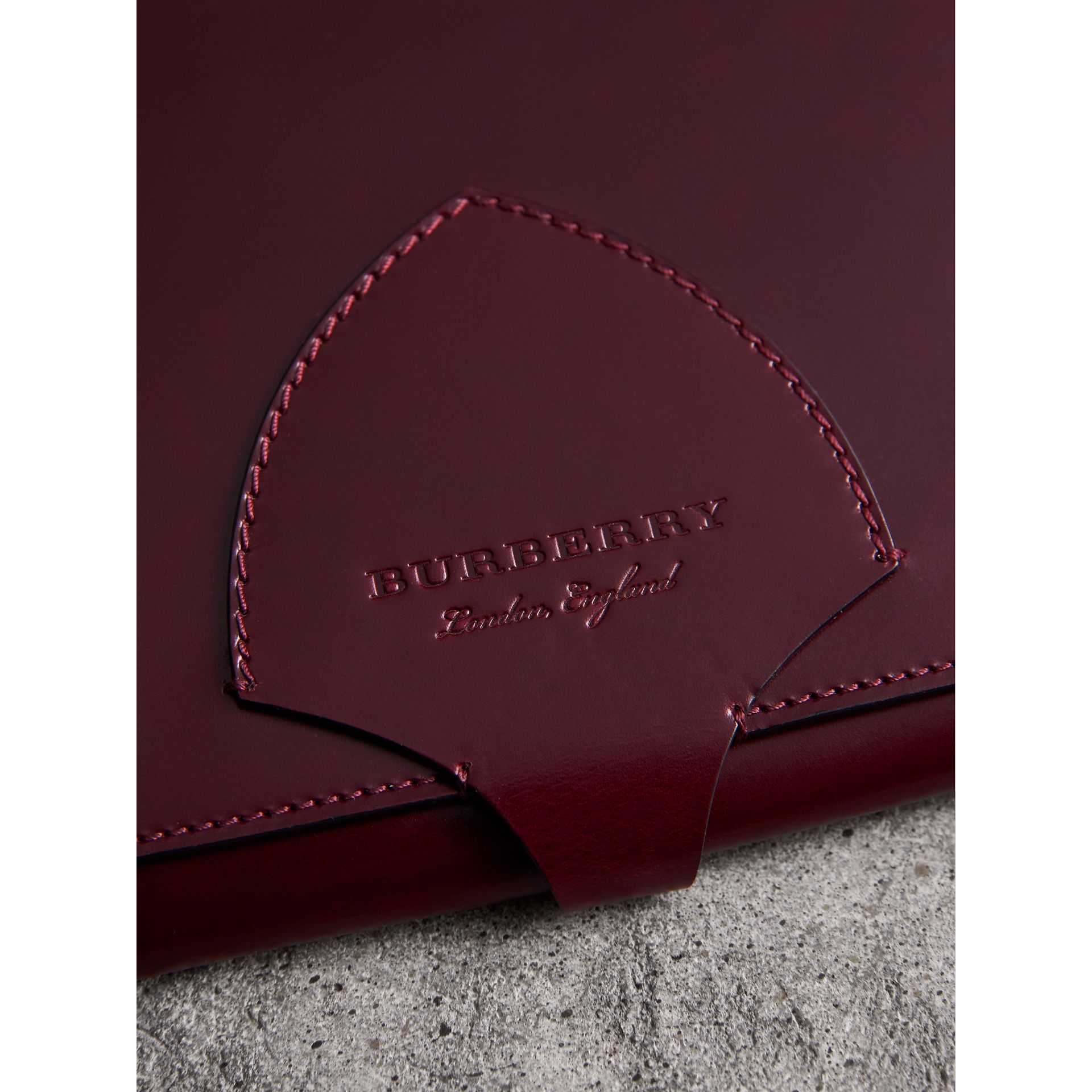 Equestrian Shield Leather A4 Document Case in Deep Claret | Burberry - gallery image 1