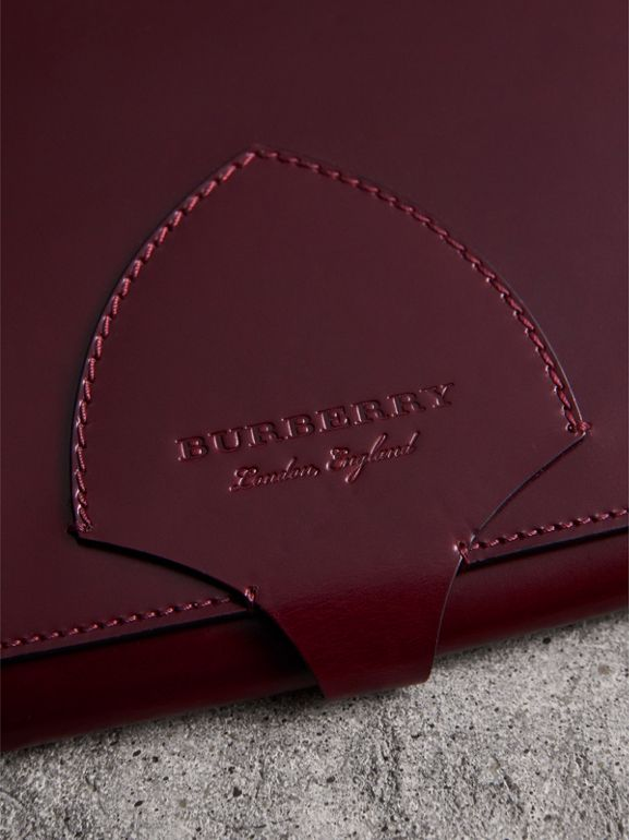 Equestrian Shield Leather A4 Document Case in Deep Claret | Burberry United Kingdom - cell image 1