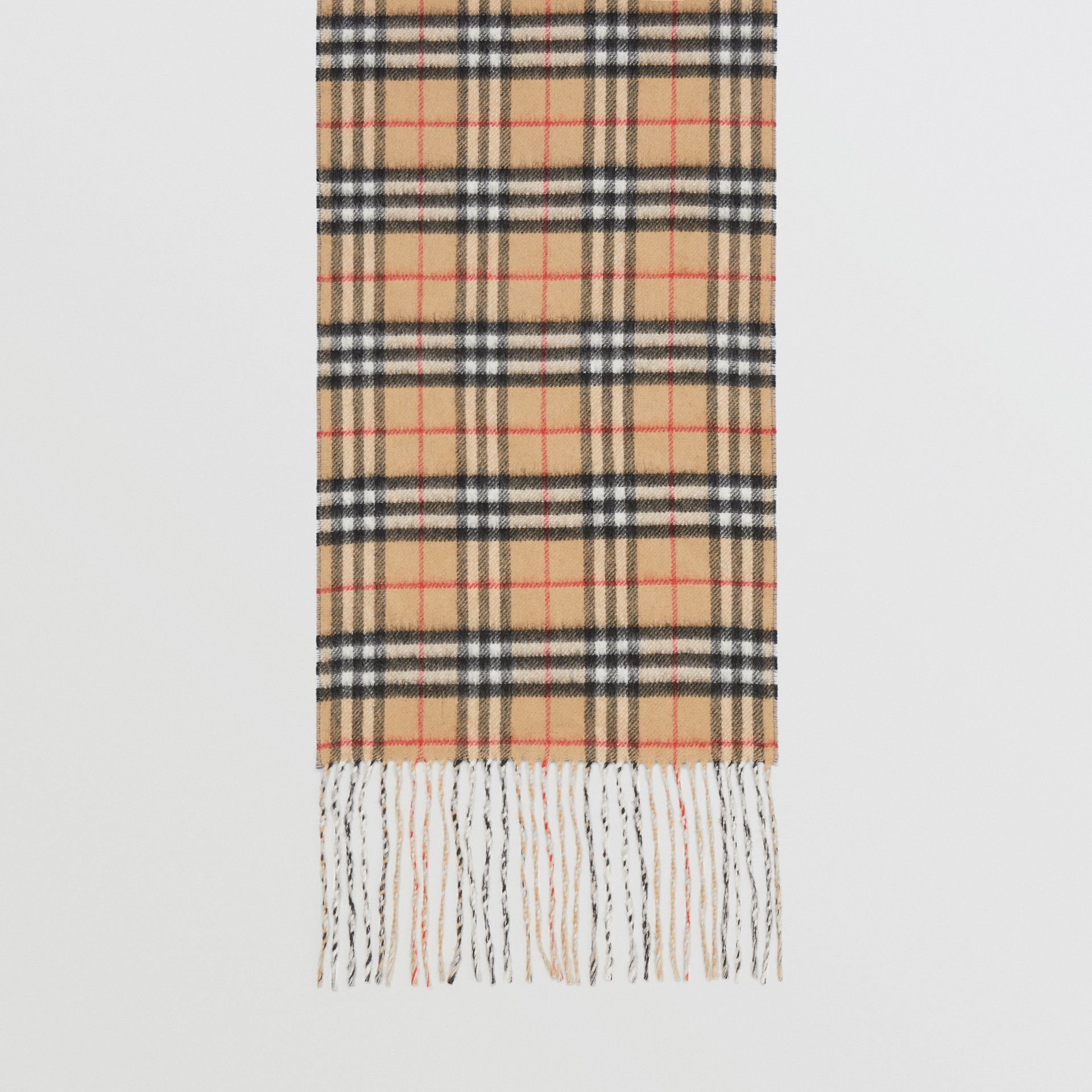 Long Reversible Vintage Check Double-faced Cashmere Scarf in Stone Blue | Burberry United Kingdom - gallery image 4