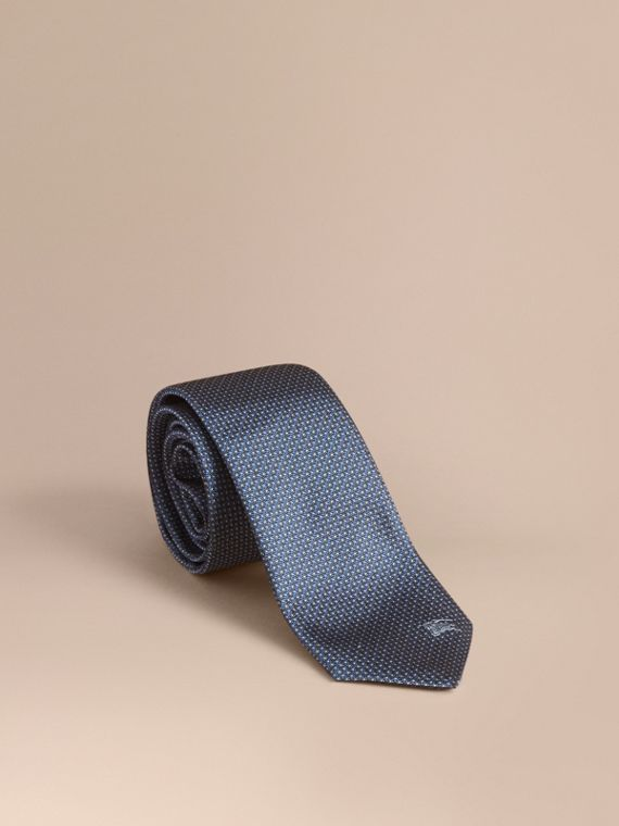 Modern Cut Patterned Silk Tie Light Blue