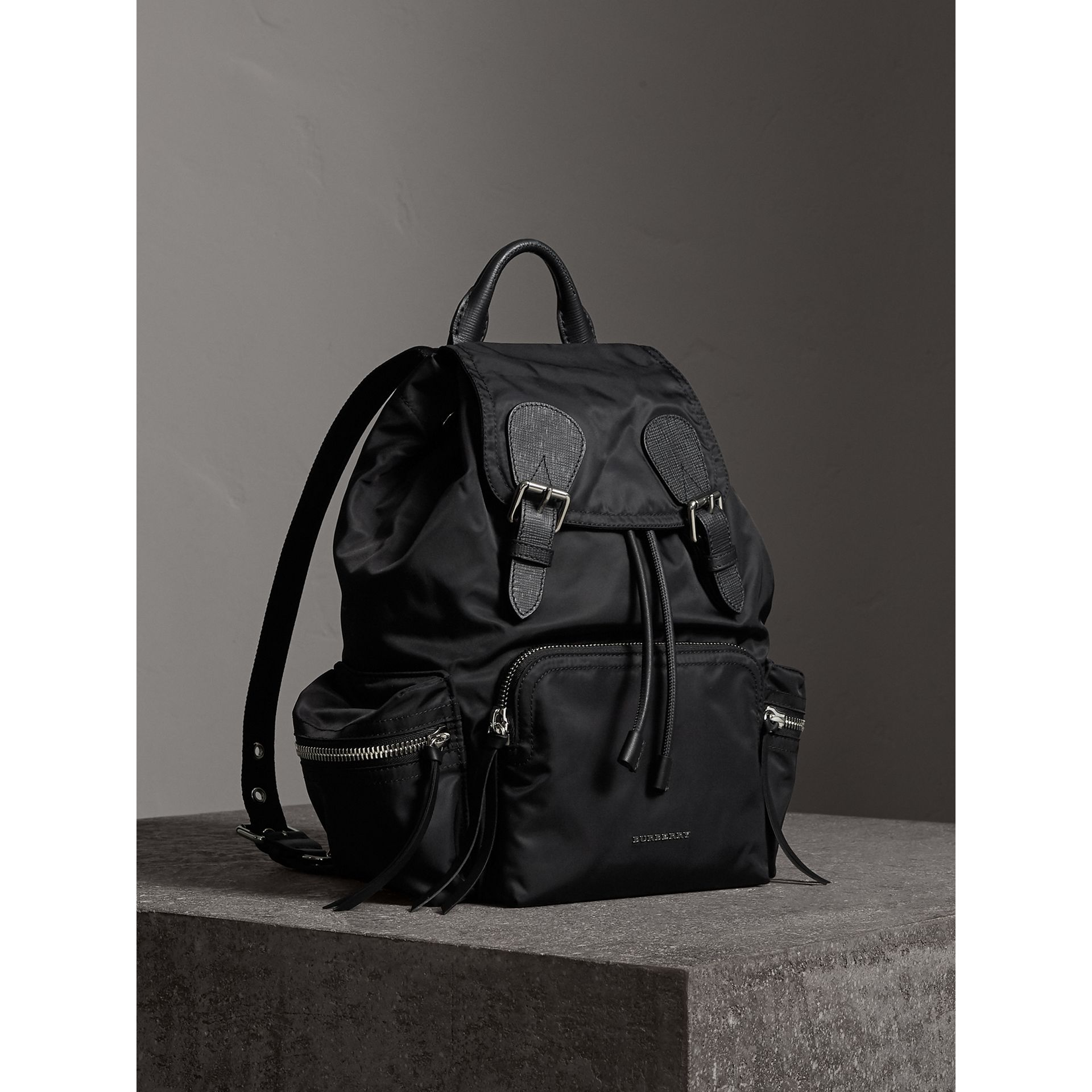 The Medium Rucksack in Nylon and Leather in Black/black - Women | Burberry Singapore - gallery image 0