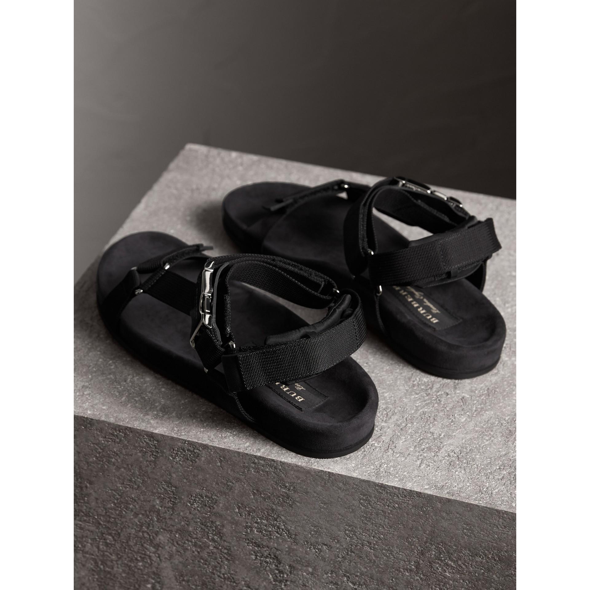 Three-point Strap Ripstop Sandals in Black - Men | Burberry Australia - gallery image 4