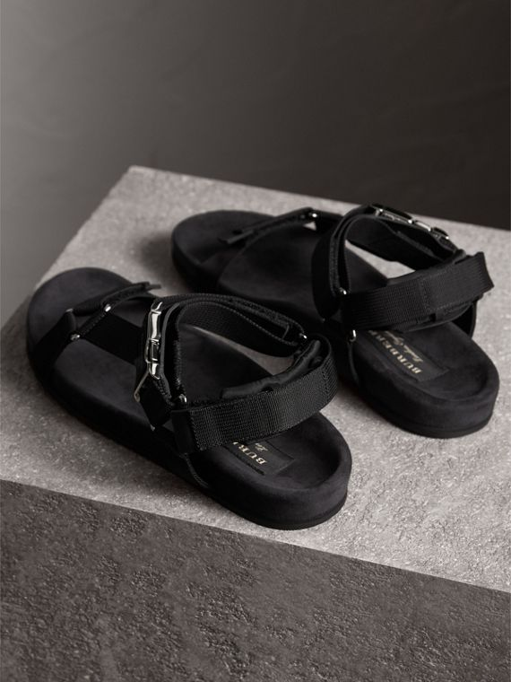 Three-point Strap Ripstop Sandals in Black - Men | Burberry - cell image 3