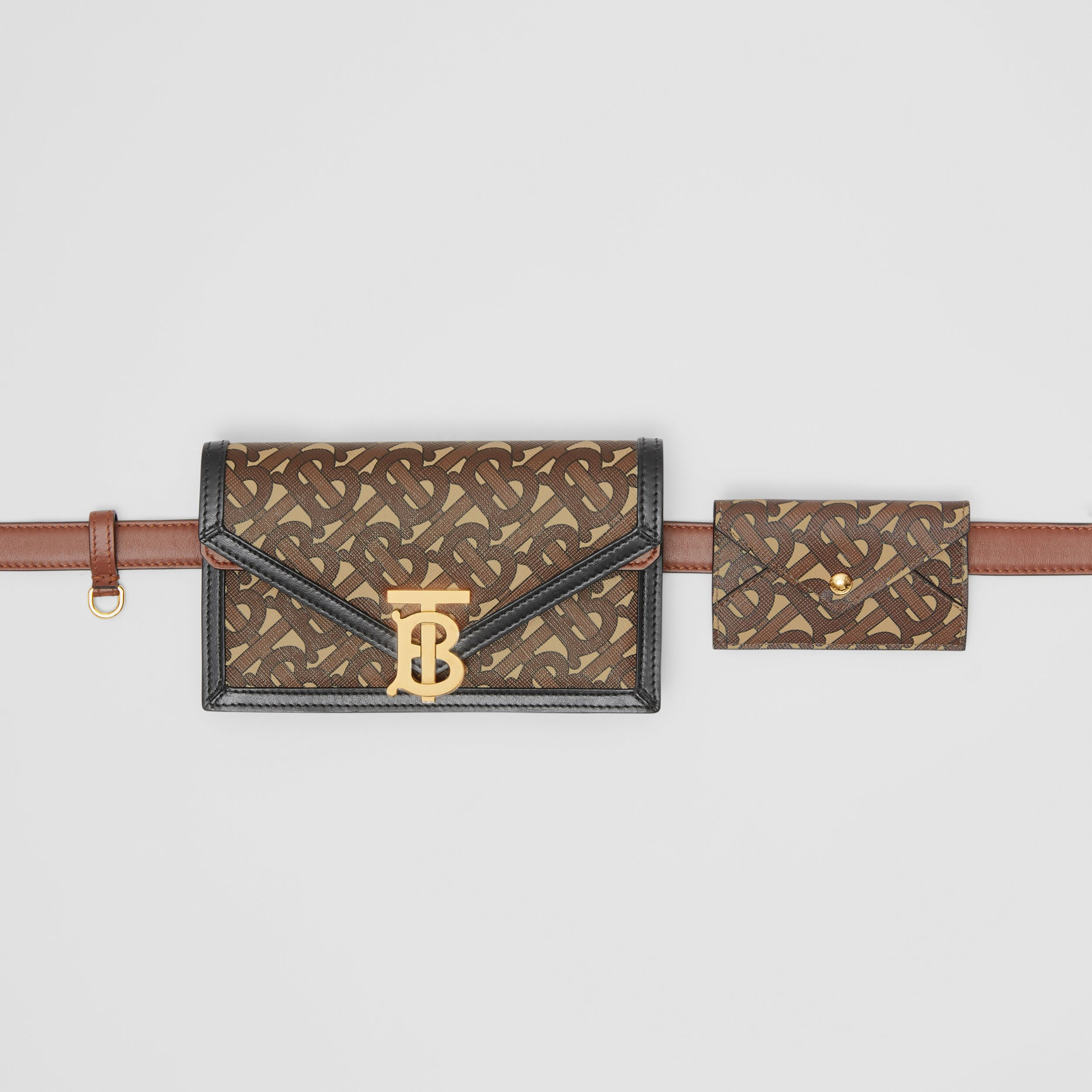 Belted Monogram E-canvas TB Envelope Clutch in Bridle Brown - Women | Burberry - 3