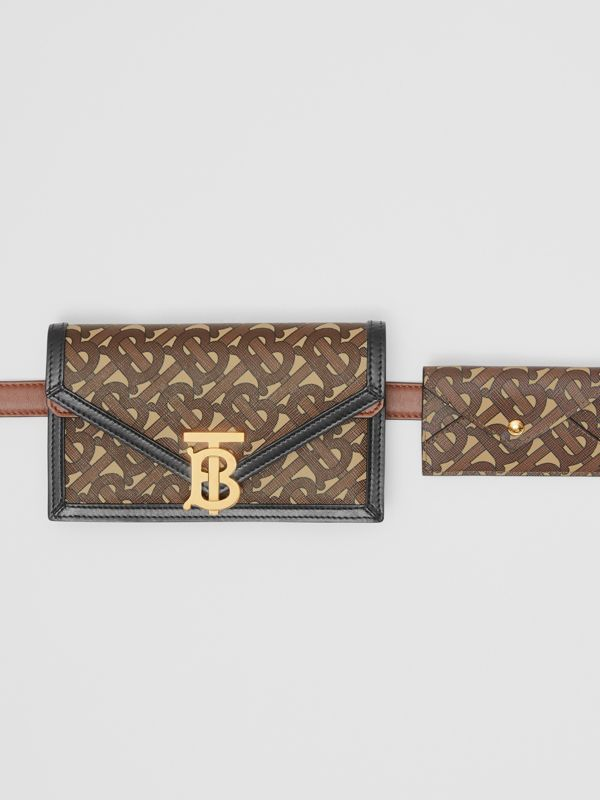 Belted Monogram E-canvas TB Envelope Clutch in Bridle Brown - Women | Burberry - cell image 2