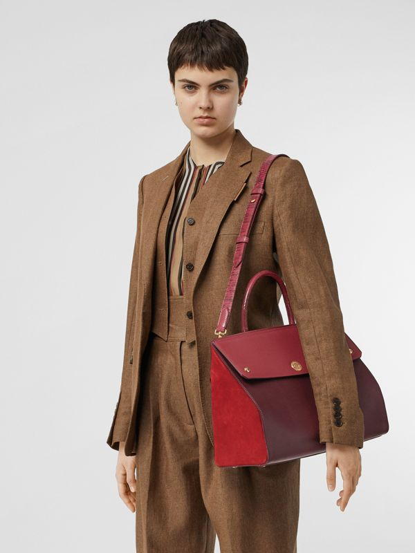 Medium Leather and Suede Elizabeth Bag in Crimson - Women | Burberry Australia - cell image 2