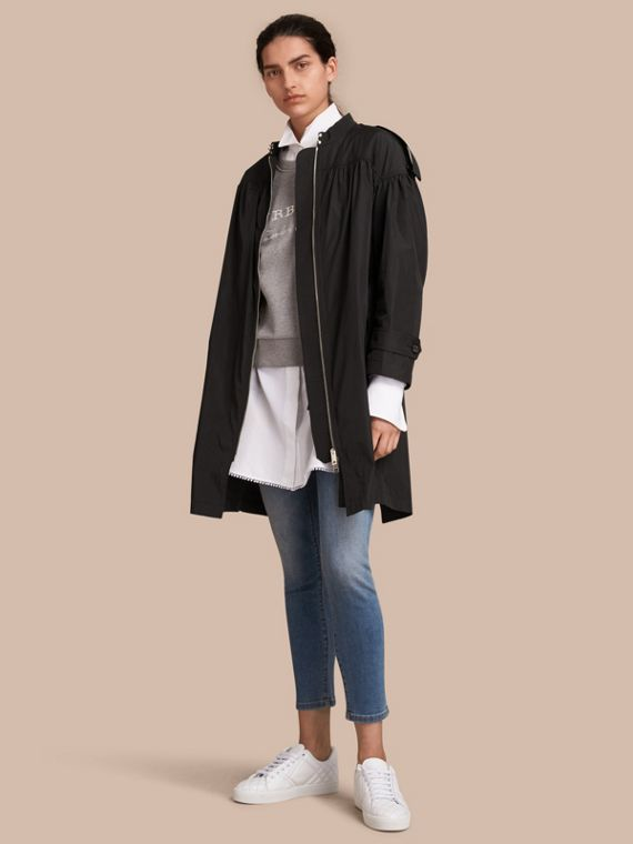 Lightweight Ruched Coat in Black