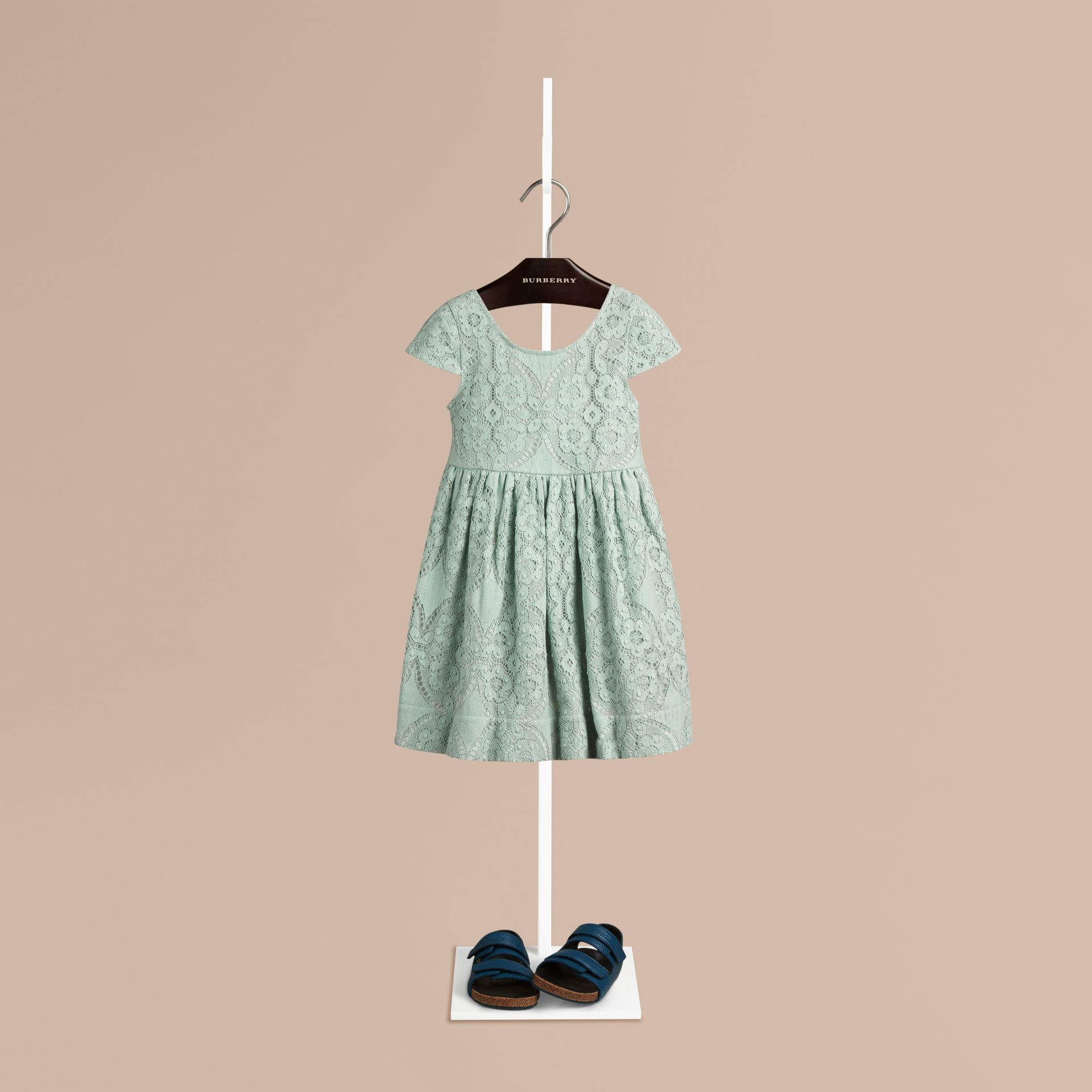Pastel green Cap Sleeve English Lace Dress Pastel Green - gallery image 1