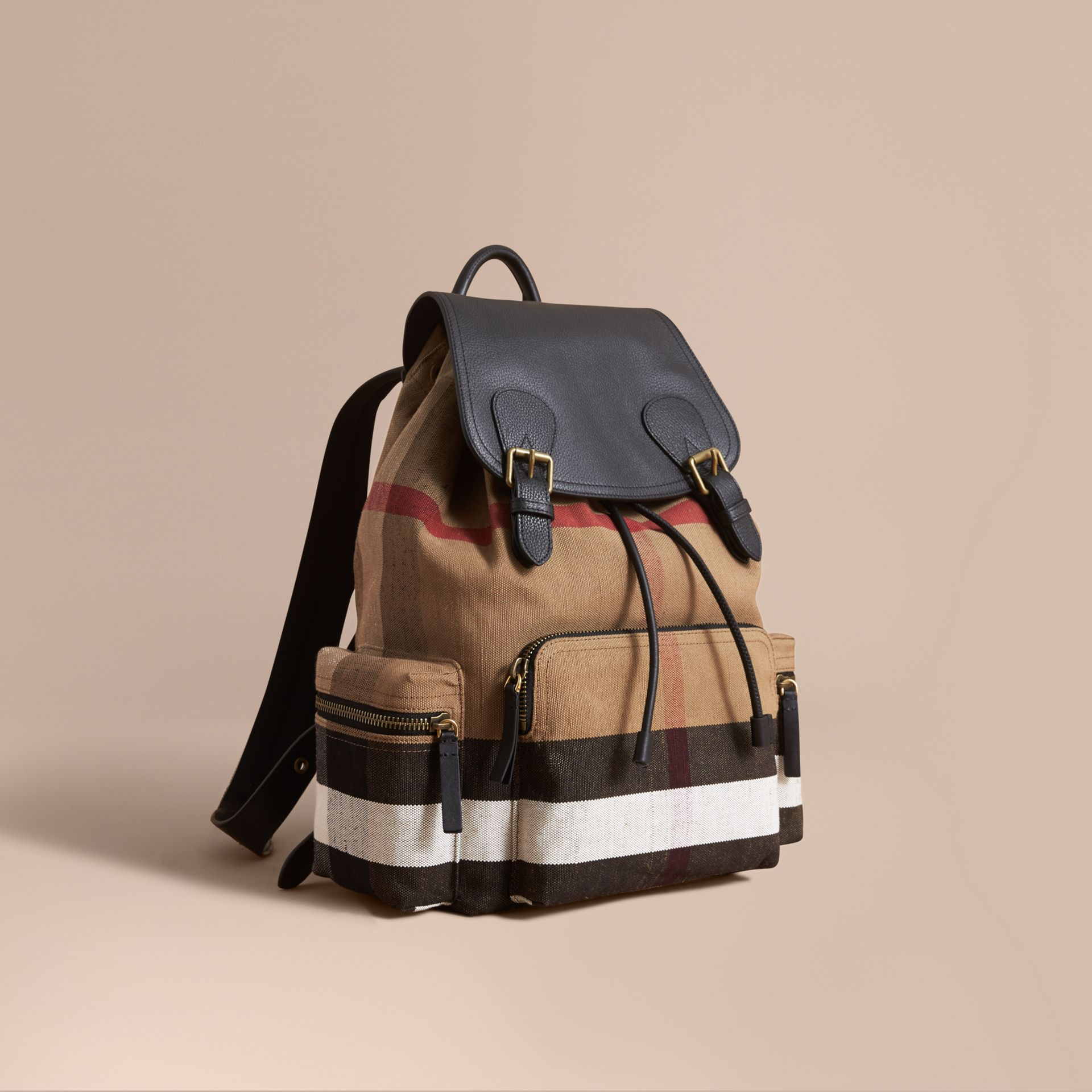 The Large Rucksack in Canvas Check and Leather in Classic - Men | Burberry Canada - gallery image 0
