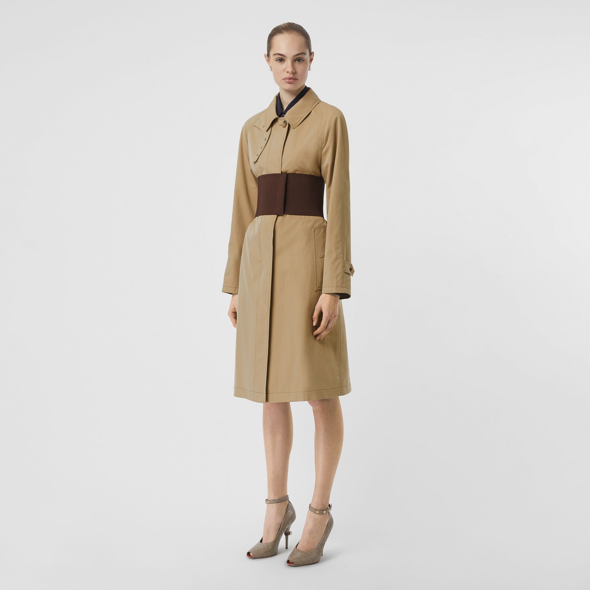 Corset-belt Cotton Gabardine Car Coat in Pale Honey - Women | Burberry - gallery image 0
