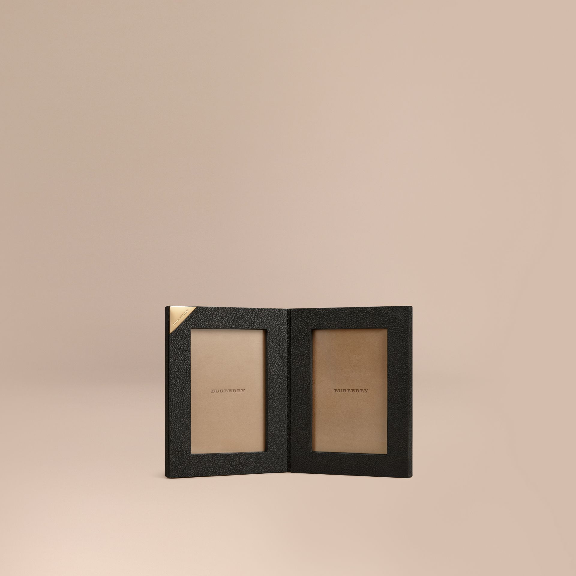 Black Grainy Leather Double Picture Frame Black - gallery image 1