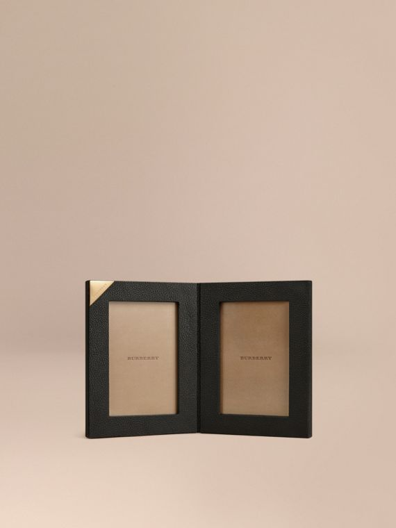 Grainy Leather Double Picture Frame Black