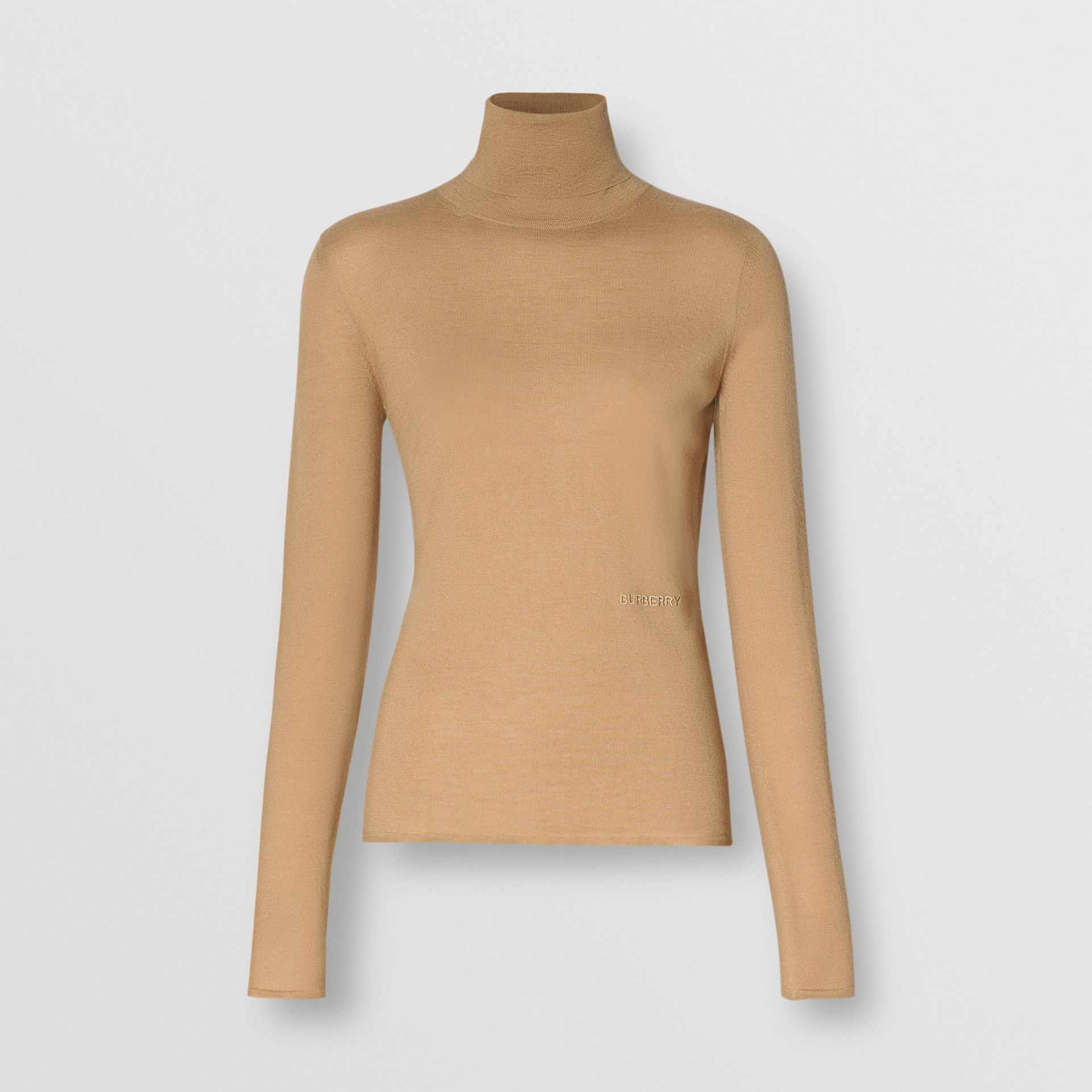 Embroidered Logo Cashmere Silk Roll-neck Sweater in Archive Beige - Women | Burberry - gallery image 3