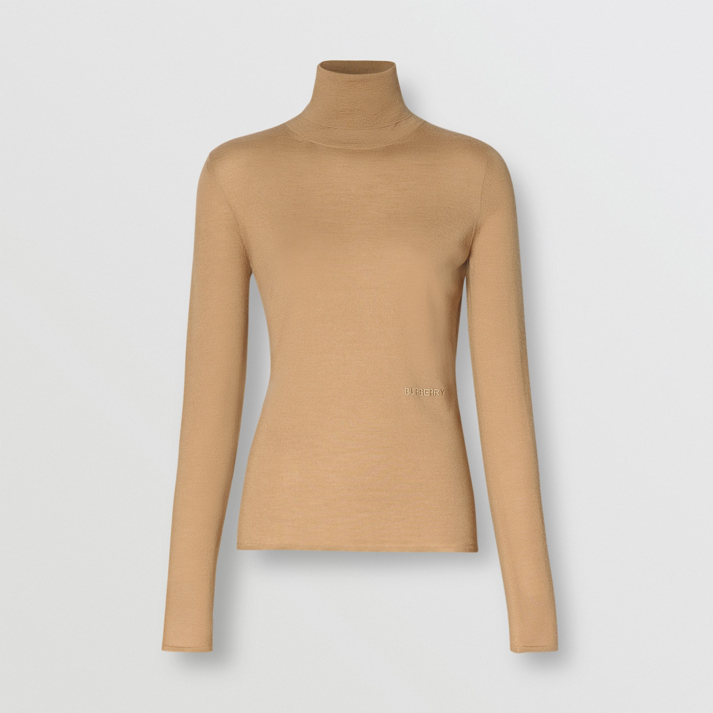 Embroidered Logo Cashmere Silk Roll-neck Sweater in Archive Beige - Women | Burberry United States - 4