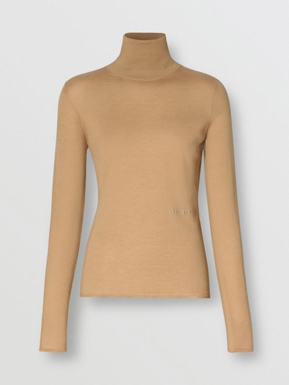 Embroidered Logo Cashmere Silk Roll-neck Sweater in Archive Beige