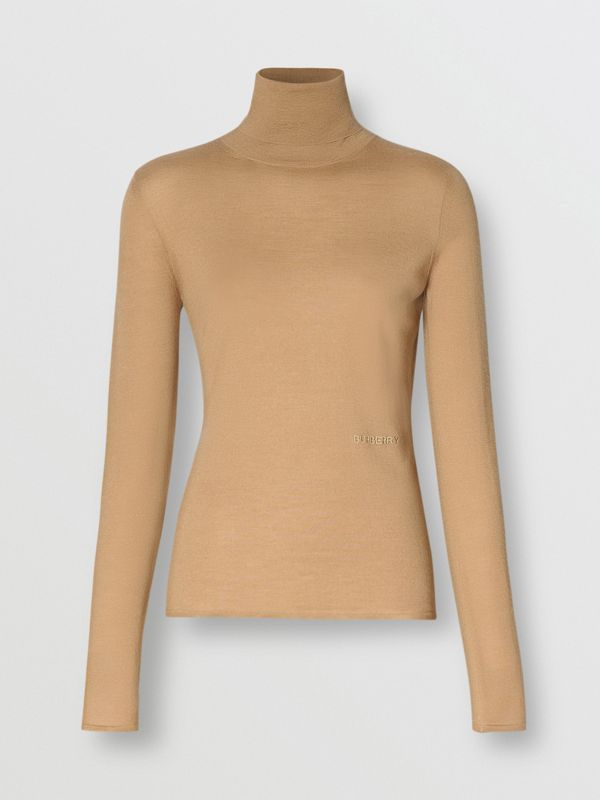 Embroidered Logo Cashmere Silk Roll-neck Sweater in Archive Beige - Women | Burberry Canada - cell image 3