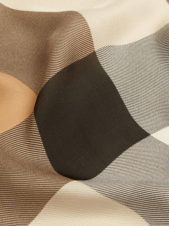 Camel Lightweight Check Silk Scarf Camel - cell image 2