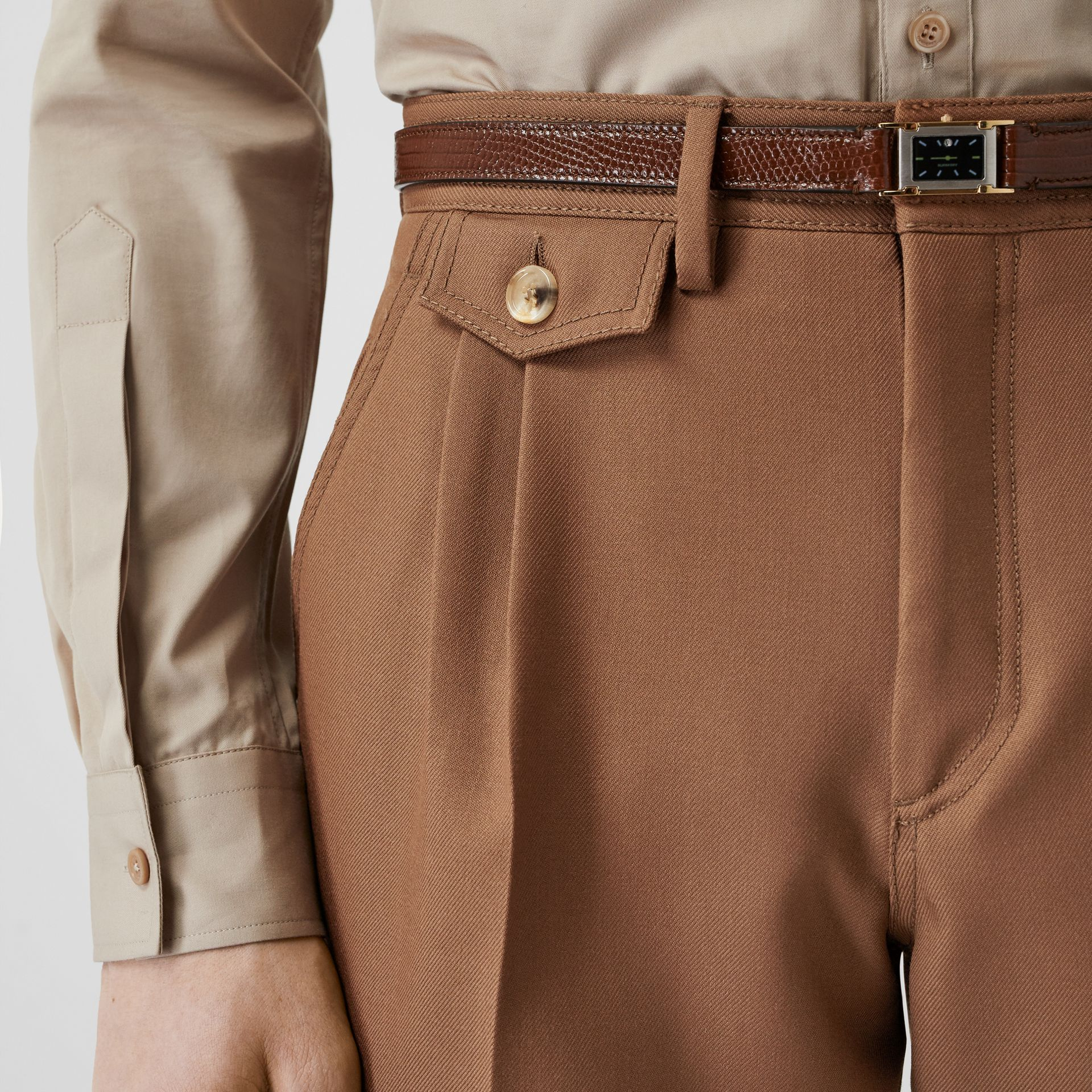 Zip Detail Wool Twill Pleated Trousers in Dark Walnut - Men | Burberry - gallery image 5