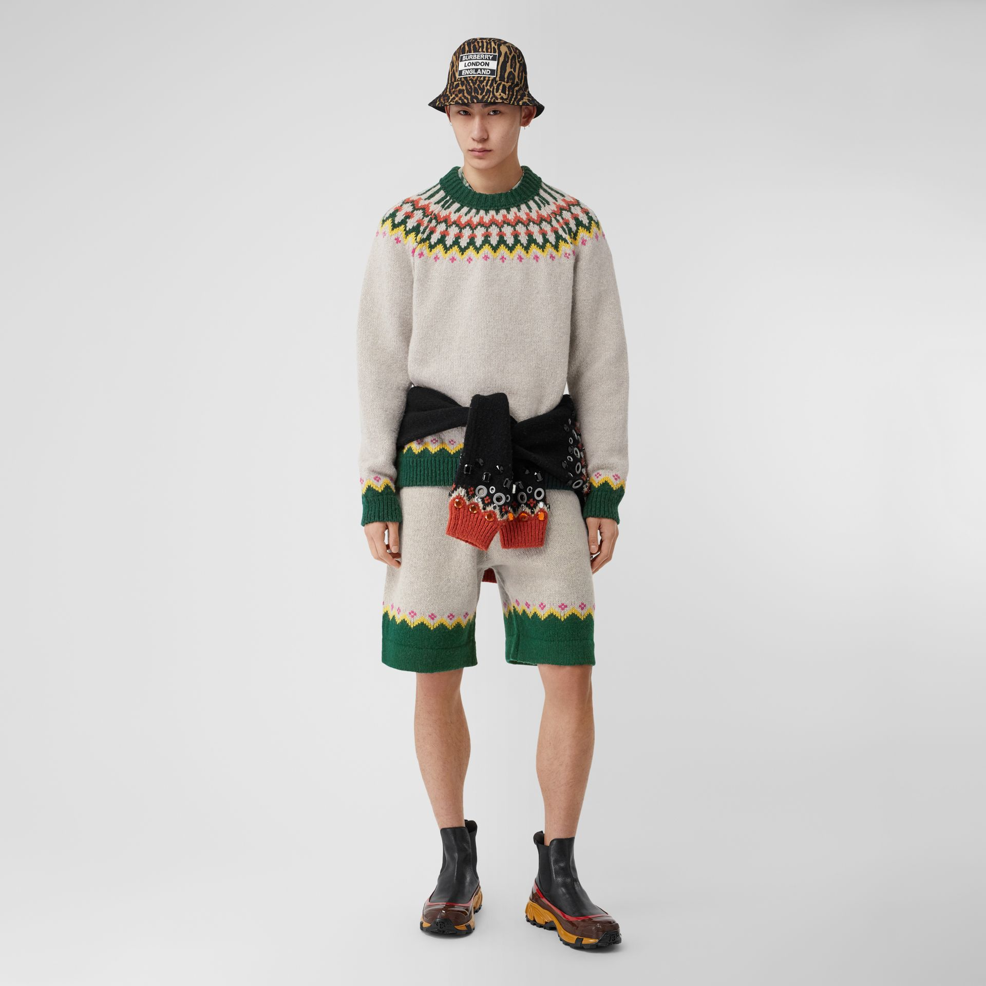 Fair Isle Wool Drawcord Shorts in Sesame - Men | Burberry Hong Kong S.A.R - gallery image 4
