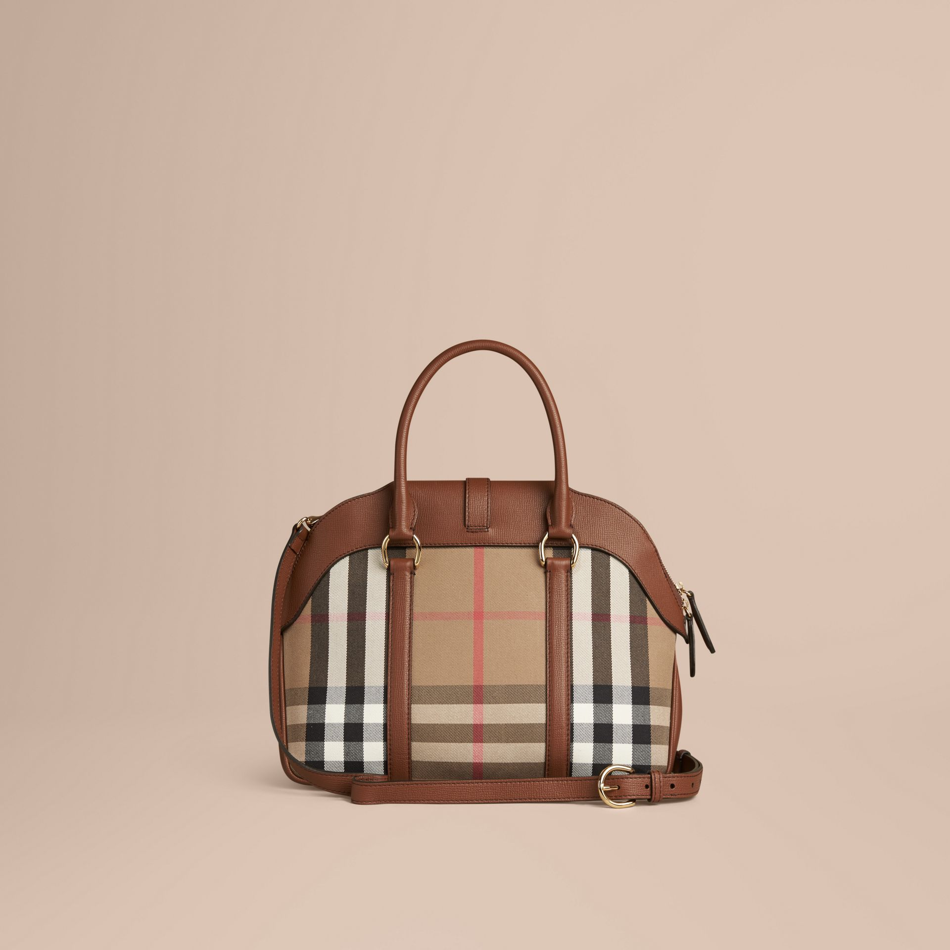 Tan Medium House Check and Leather Bowling Bag - gallery image 4