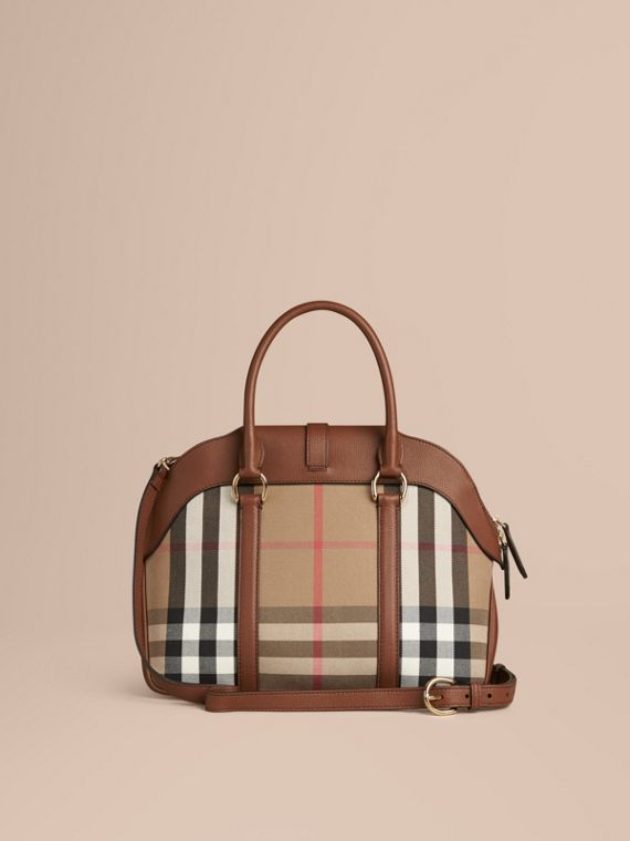 Tan Medium House Check and Leather Bowling Bag - cell image 3