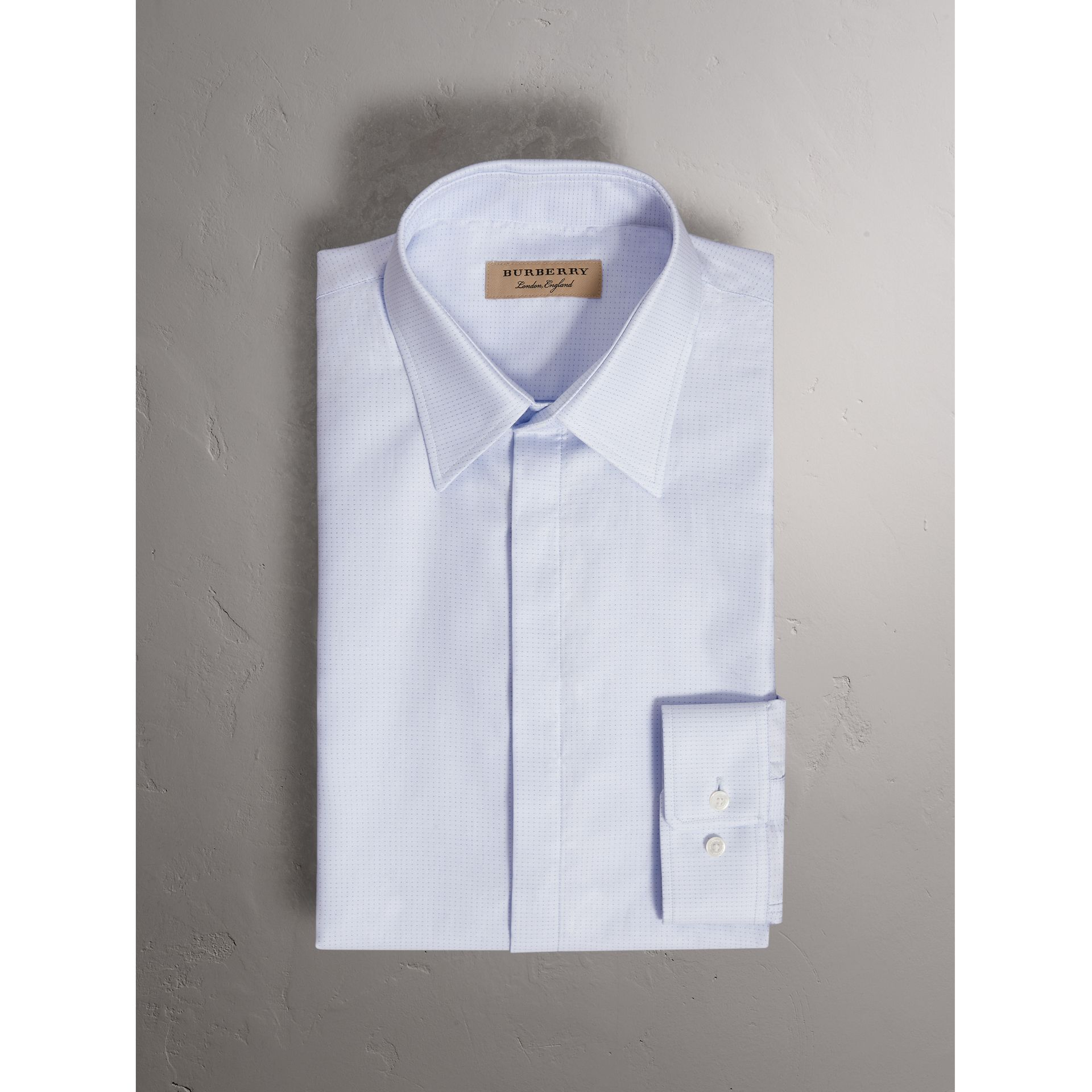 Modern Fit Pin Dot Dobby Cotton Shirt in Light Blue - Men | Burberry United Kingdom - gallery image 4