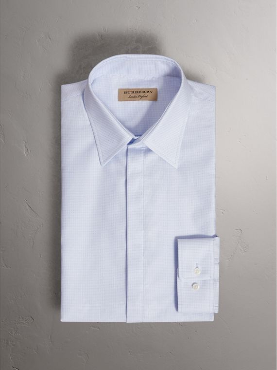 Modern Fit Pin Dot Dobby Cotton Shirt in Light Blue - Men | Burberry - cell image 3