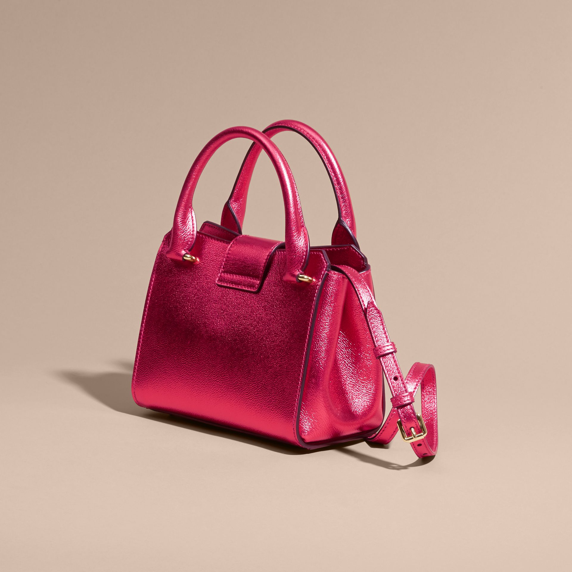 The Small Buckle Tote in Metallic Leather Bright Pink - gallery image 5