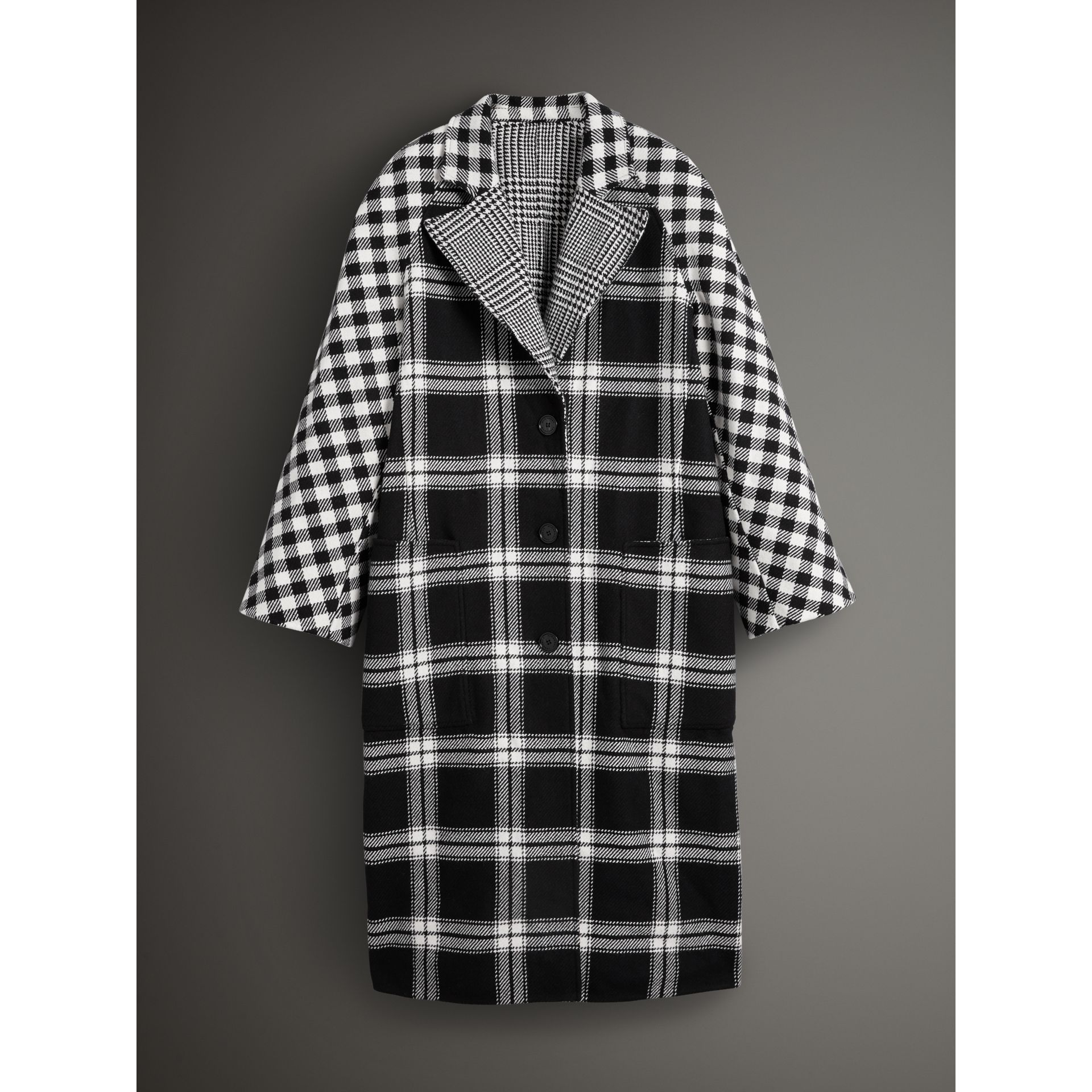 Reversible Multi-check Wool Cashmere Coat in Black/white - Women | Burberry - gallery image 3