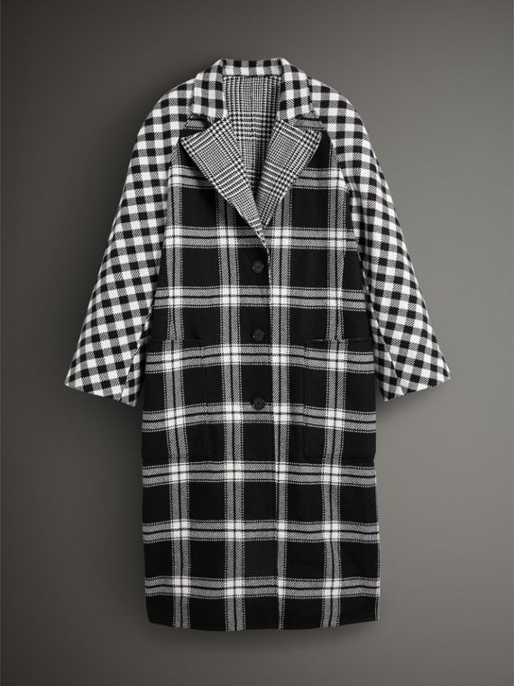 Reversible Multi-check Wool Cashmere Coat in Black/white - Women | Burberry Singapore - cell image 3
