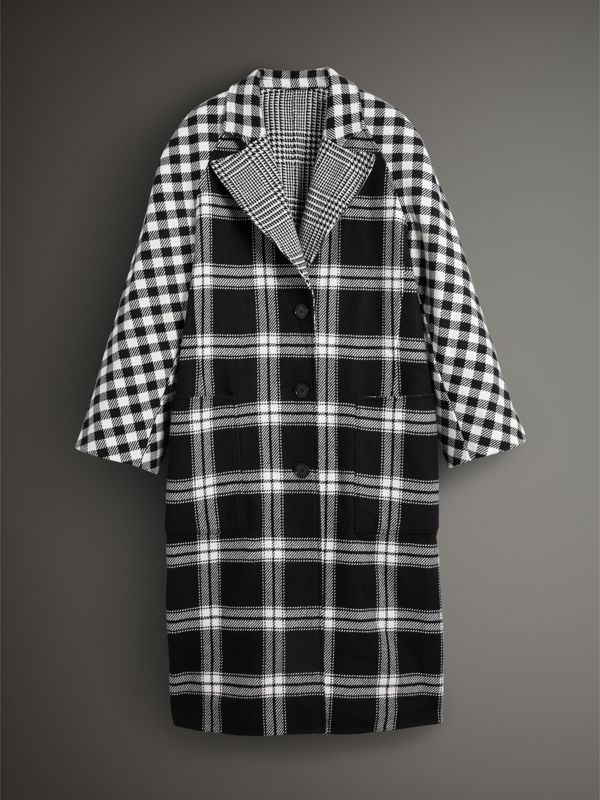 Reversible Multi-check Wool Cashmere Coat in Black/white - Women | Burberry - cell image 3