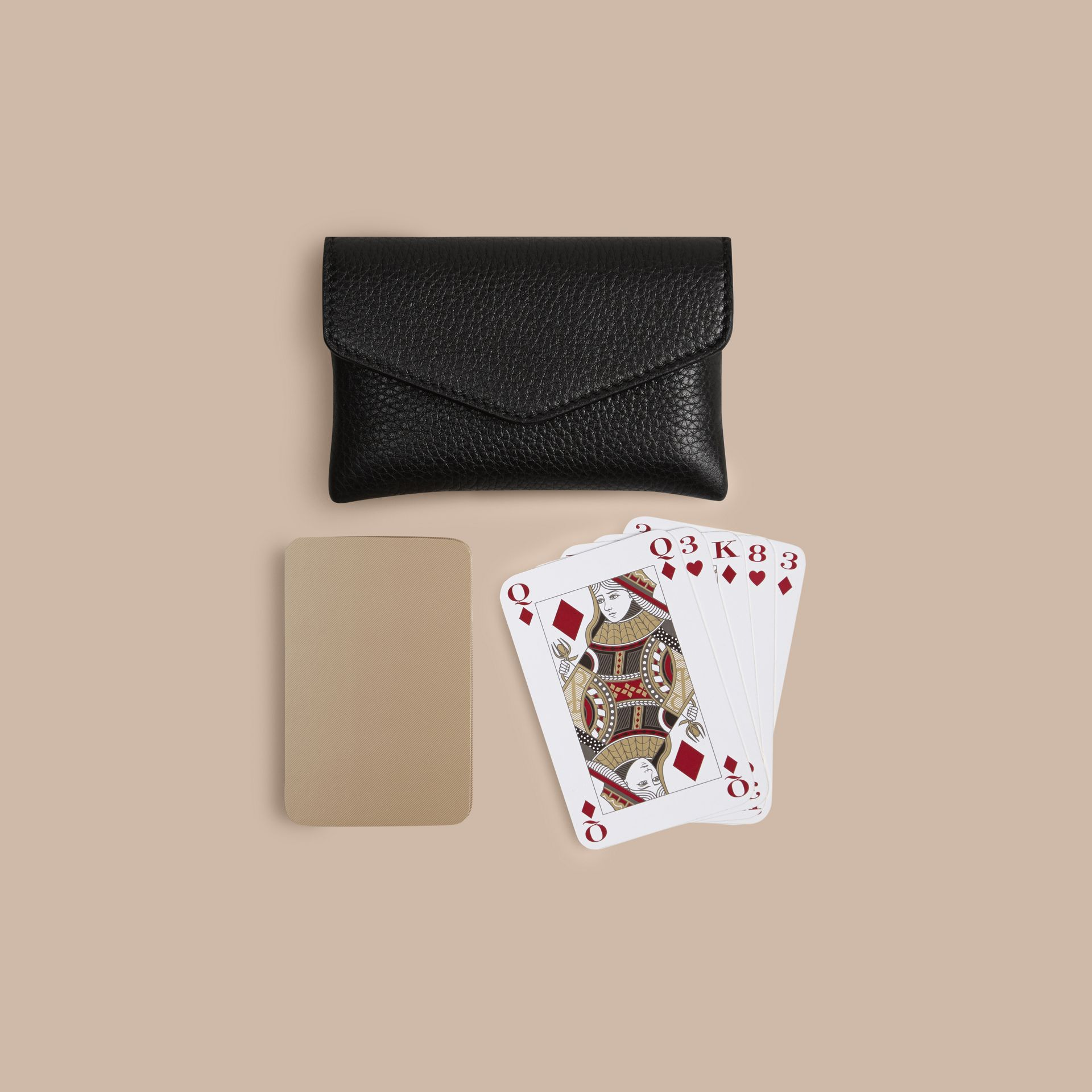 Black Grainy Leather Playing Card Case Black - gallery image 3