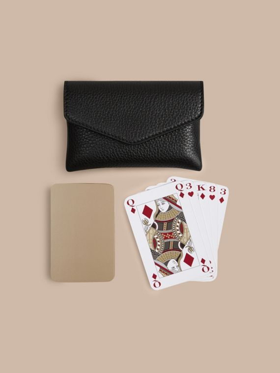 Black Grainy Leather Playing Card Case Black - cell image 2