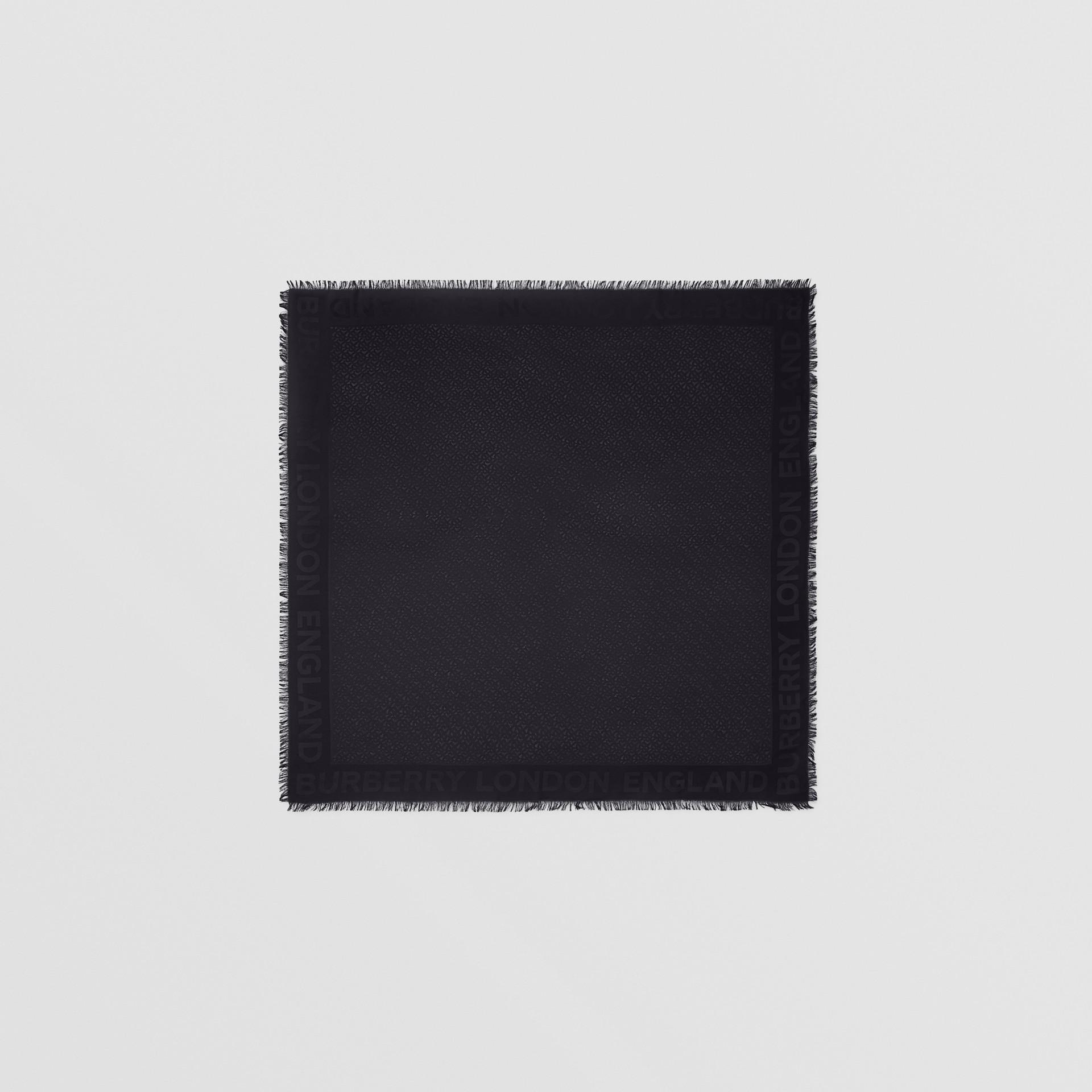 Monogram Silk Wool Jacquard Large Square Scarf in Black | Burberry - gallery image 0