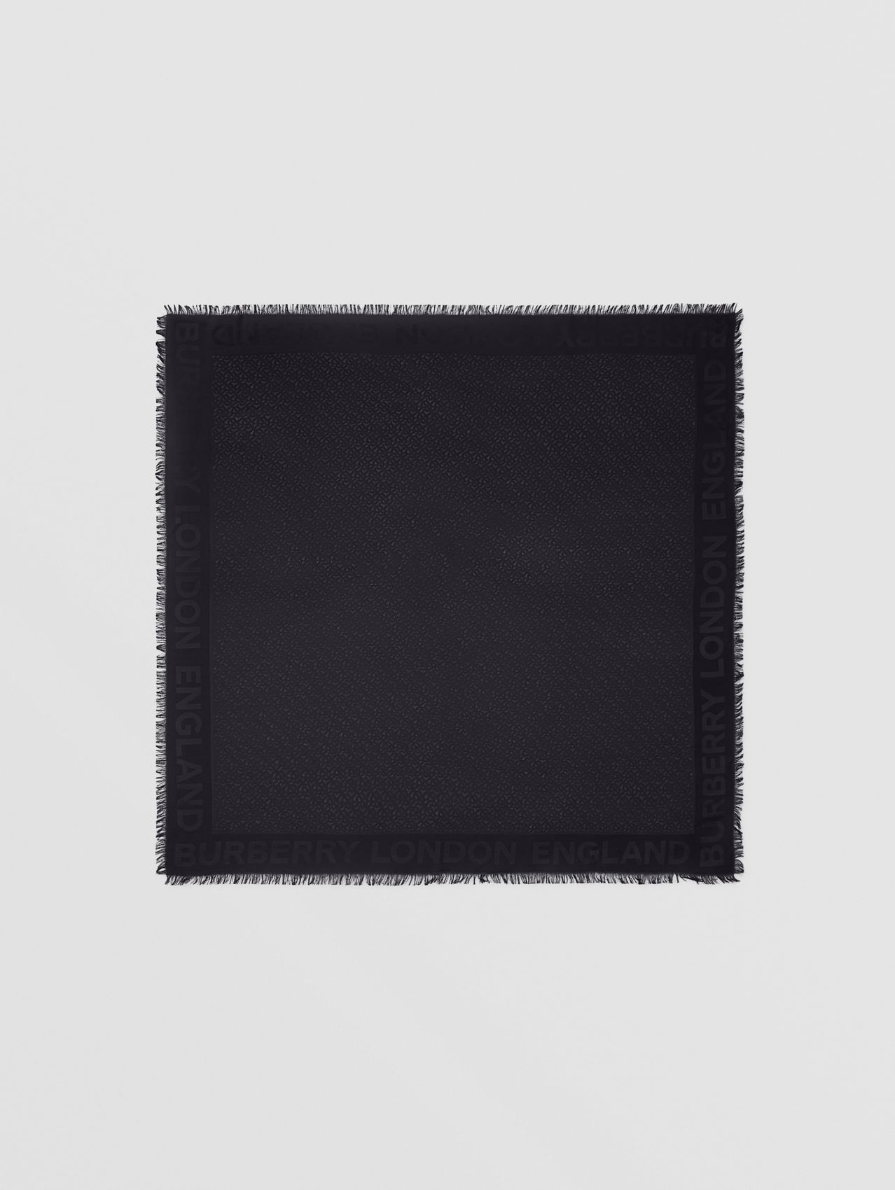 Monogram Silk Wool Jacquard Large Square Scarf in Black
