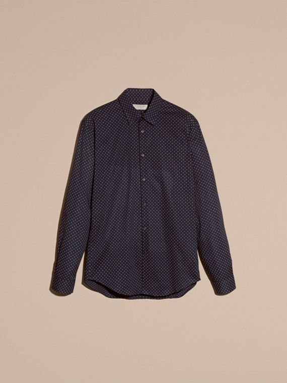 Navy Printed Cotton Poplin Shirt - cell image 3