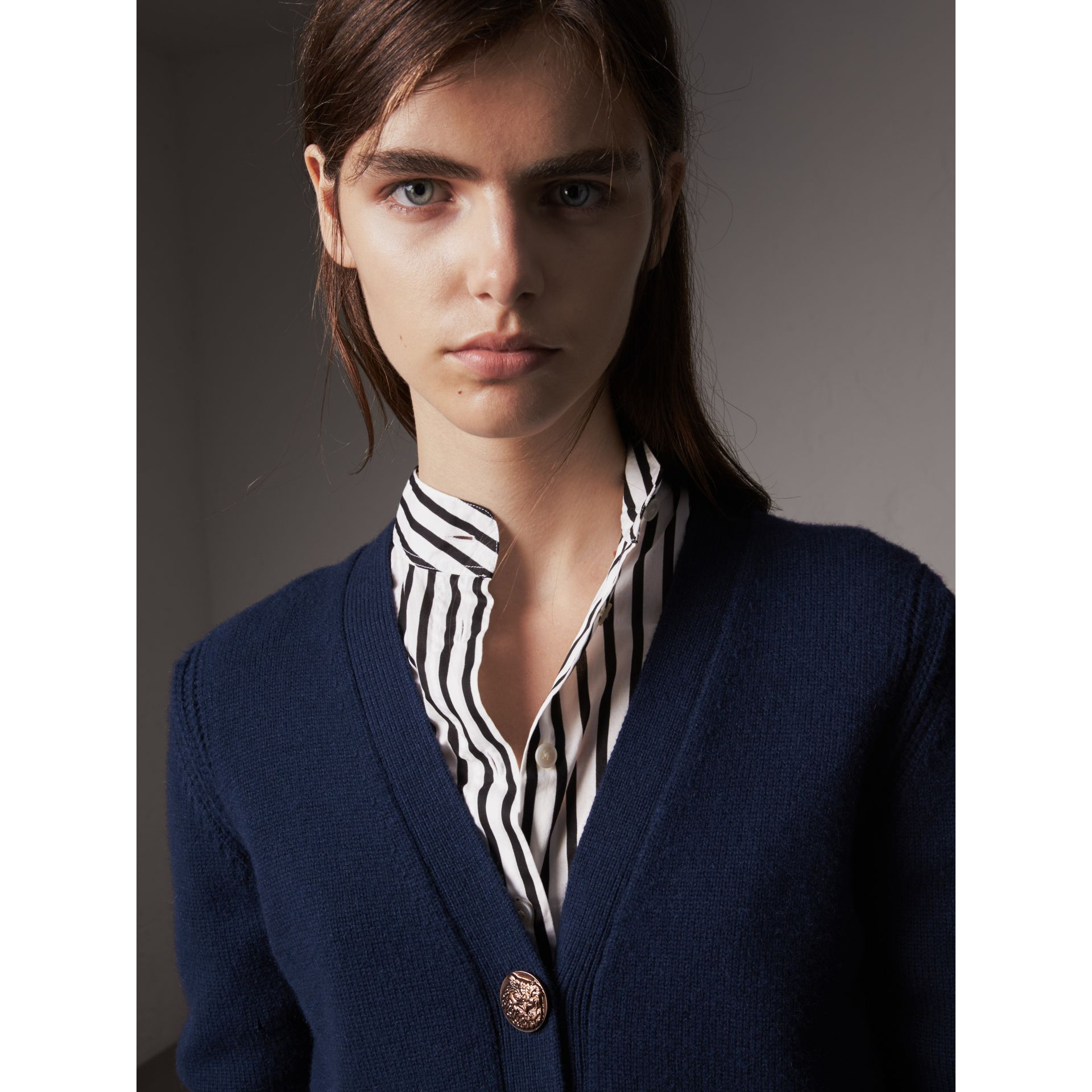 Bird Button Cashmere Cardigan in Navy - Women | Burberry Australia - gallery image 1