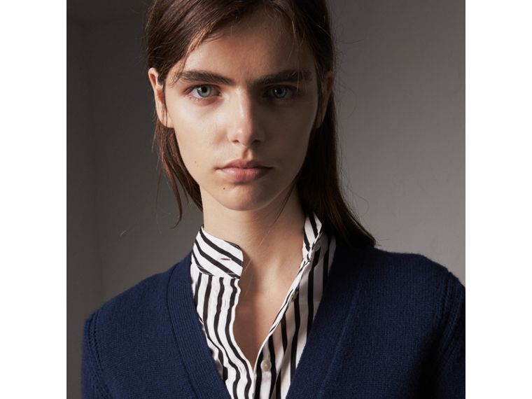 Bird Button Cashmere Cardigan in Navy - Women | Burberry United Kingdom - cell image 1