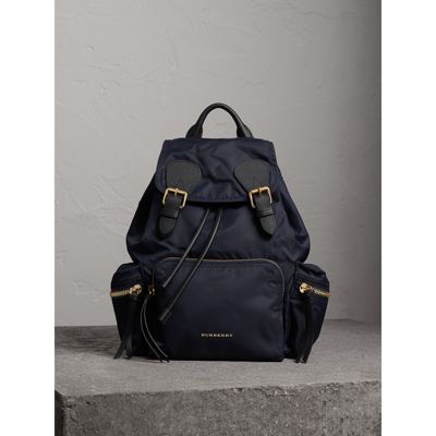 The Medium Rucksack in Technical Nylon and Leather in Ink Blue - Women |  Burberry United