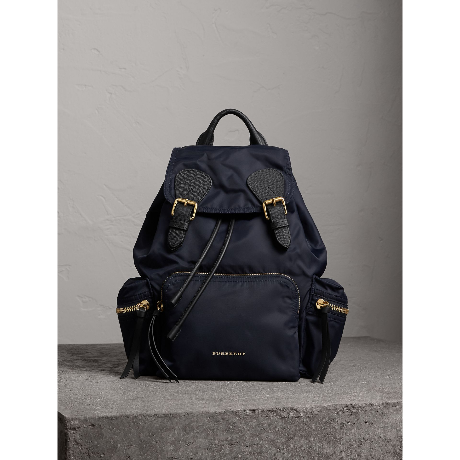 The Medium Rucksack in Technical Nylon and Leather in Ink Blue - Women | Burberry - gallery image 9