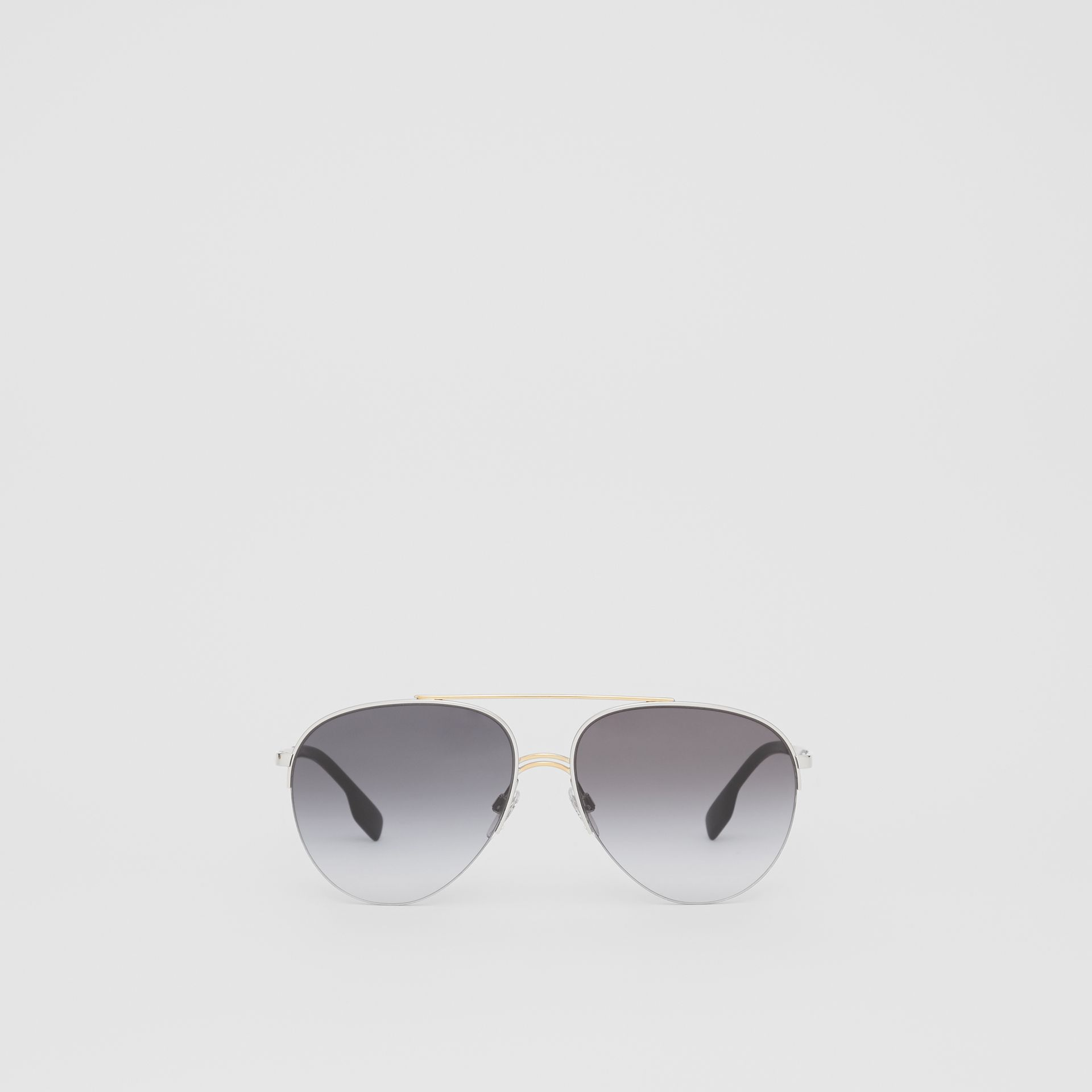 Top Bar Detail Pilot Sunglasses in Dark Grey - Women | Burberry - gallery image 0