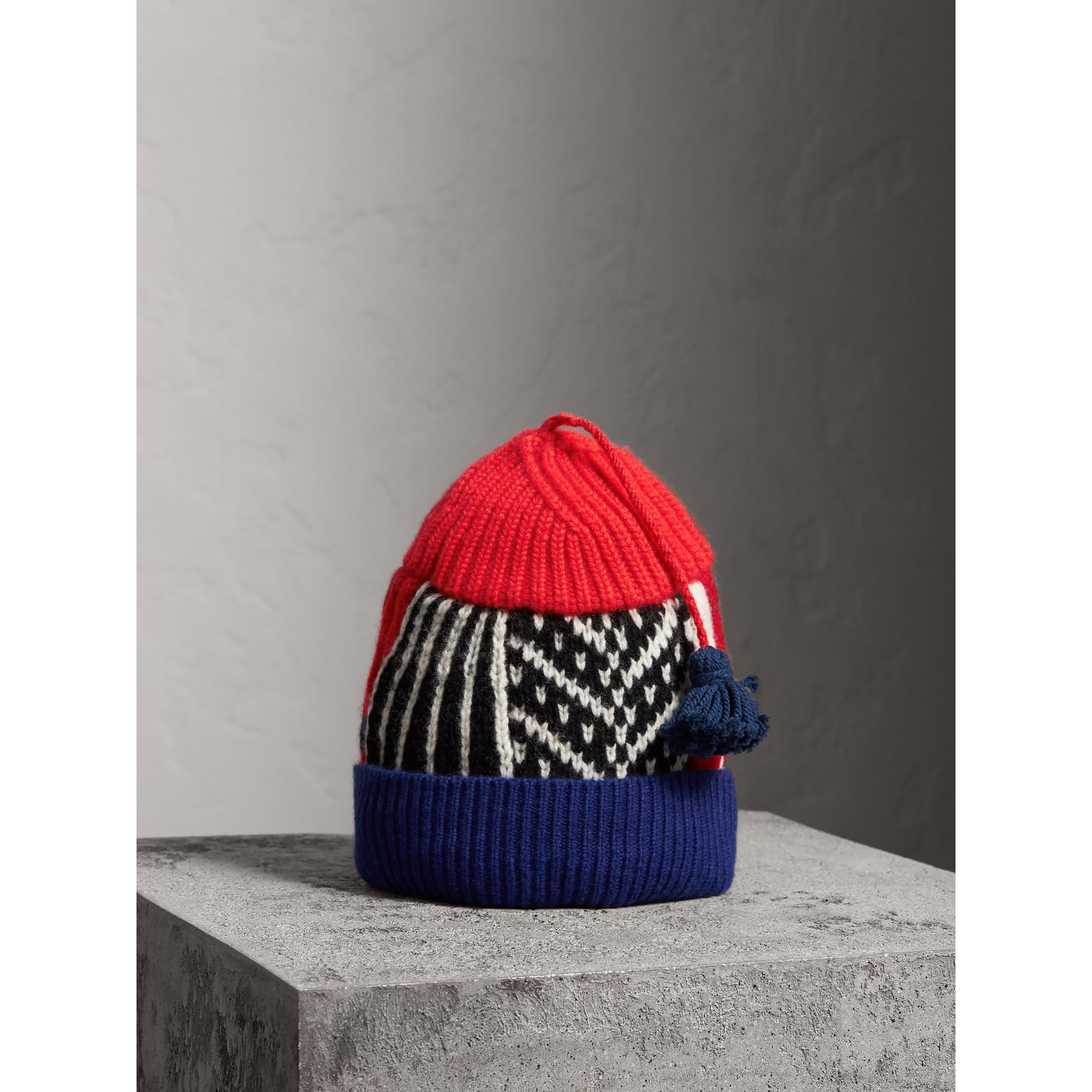 Cashmere Wool Blend Patchwork Beanie in Coral Red | Burberry - gallery image 1